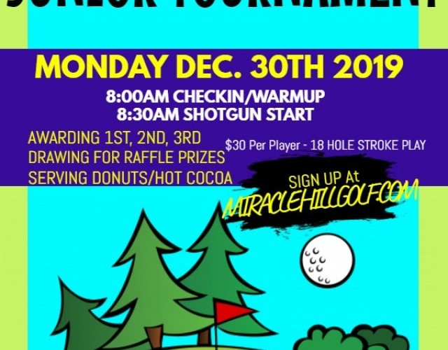HOLDIDAY BREAK JR TOURNAMENT DEC 30, 2019 8:00 AM